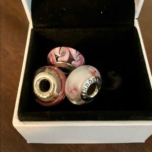 3 gorgeous pink Pandora charms for Breast Cancer month